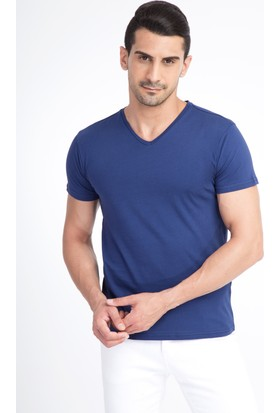 Kiğılı V Yaka Slim Fit T-Shirt