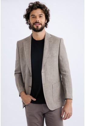 Kiğılı İtalyan Ekose Keten Ceket