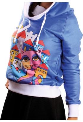 Biggdesign Owl And City Sweatshirt Standart Renkli