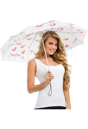 Biggdesign Her Dilden Beyaz Mini Şemsiye