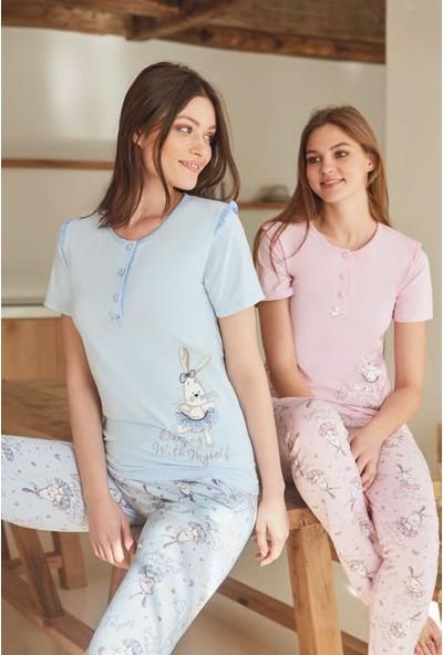 Feyza Kadın Kısa Kol Pijama Takımı - Tavşanlı