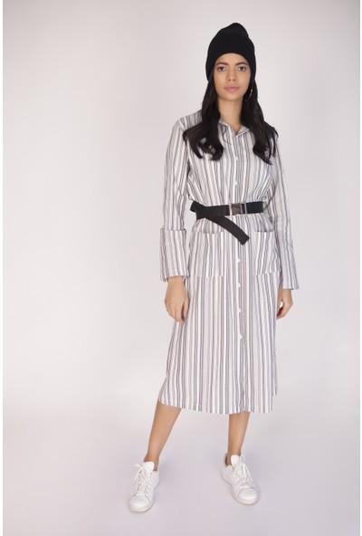 Cream&Rouge 16K548 Çizgili Gömlek Elbise