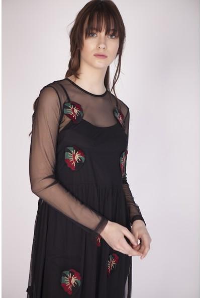 Cream&Rouge 17Y114 Astarlı Çiçek Nakışlı Uzun Tül Elbise