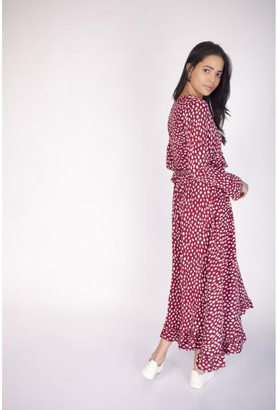Cream&Rouge 17Y283 Puan Desenli V Yaka Kolu Fırfırlı Elbise