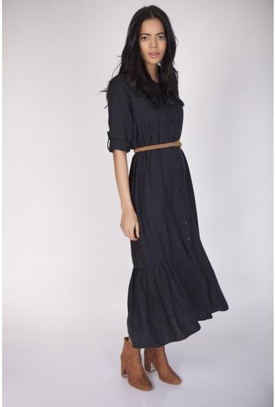 Cream&Rouge 17Y317 Yün Viskon Alt Fırfırlı Elbise