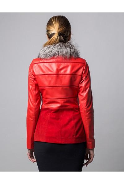 Deriderim K-1381K Kadın Kırmızı Mont
