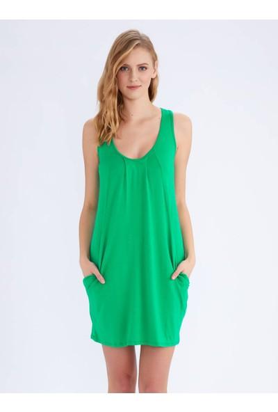 Ayyıldız 59430 Sıfır Kollu Cepli Penye Elbise Yeşil