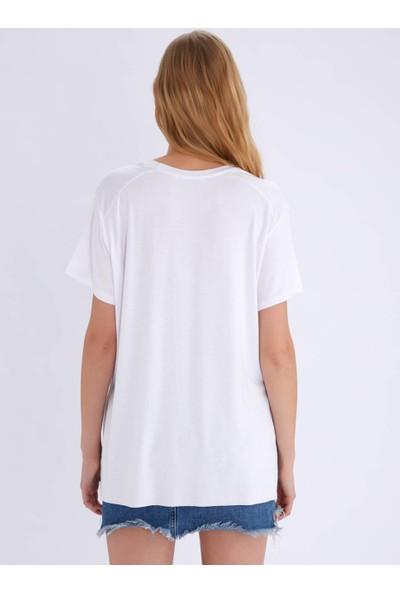 Ayyıldız 59506 Kısa Kollu Yırtmaçlı Tunik Beyaz