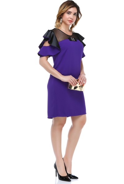 B&S Line Robası Dantelli Kol Detaylı Mor Elbise