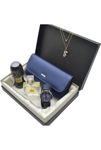 Spectrum Kadın Kol Saati Seti Lacivert - Avon Parfüm - Deri Cüzdan - Kolye