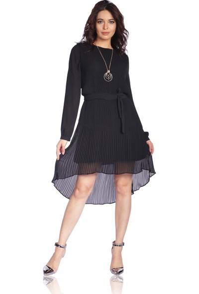 6İxty8İght Siyah Şifon Önü Kısa Arkası Uzun Abiye Elbise