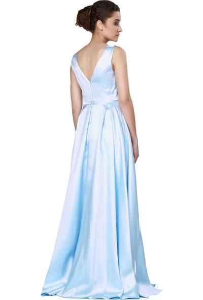 Pierre Cardin Bebe Mavi Saten İşlemeli Uzun Abiye Elbise