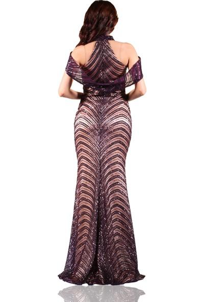 Carmen Mürdüm Şal Yaka Balık Abiye Elbise