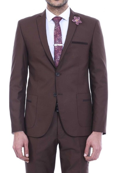 Wessi Erkek Yaka Biyeli Kahverengi Takım Elbise