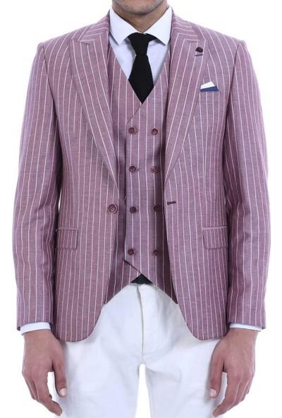 Wessi Erkek Ceket Çizgili Pantolon Düz Yelekli Bordo Takım Elbise