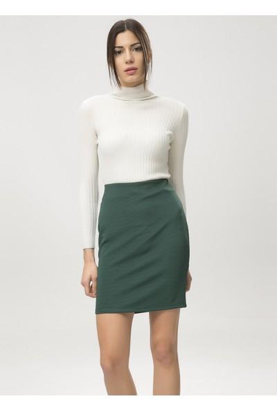 New Laviva Yeşil Kadın Dar Mini Etek