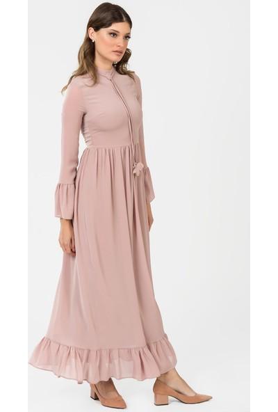 İroni Kol Ve Etek Ucu Volanlı Uzun Elbise 51881237 Pudra