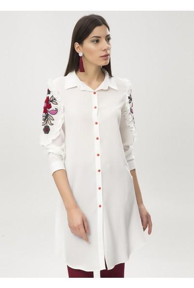 New Laviva Beyaz Kadın Kolları İşlemeli Gömlek Elbise