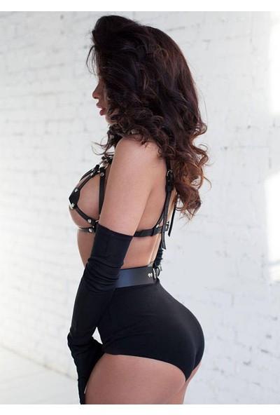 Angels Passion Seksi Deri Sütyen Erotik İç Giyim - Fantezi İç Giyim