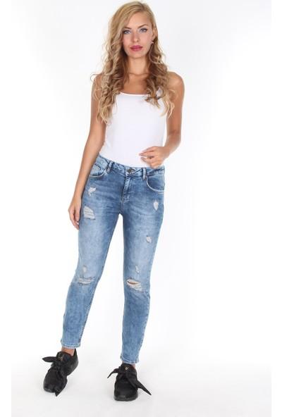 Moda Rota T-Utica211 Bayan Boyfriend Yırtık Pantolon