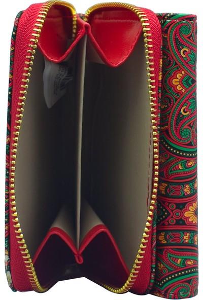 Ollbag 1026 Şal Kırmızı Deri Kadın Cüzdanı