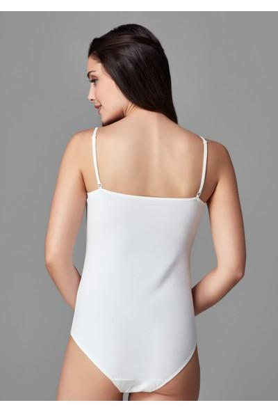 Beyaz Askılı Penye Kadın Body