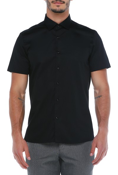 Centone Erkek Siyah Dar Kesim Gömlek -16-0148