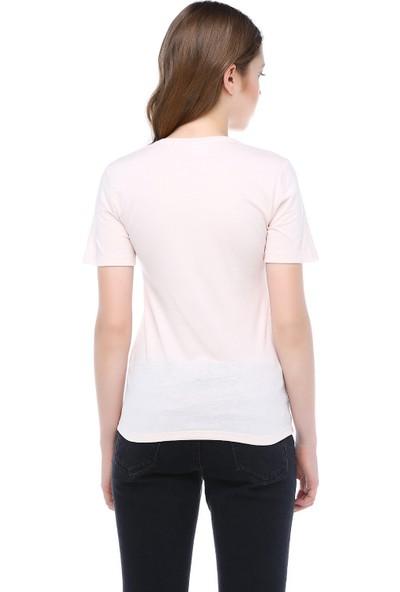 Mumu Kadın Sakura V Yaka Basic Tshirt