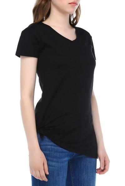 Mumu Kadın Siyah V Yaka Basic Tshirt Yandan Bağlamalı