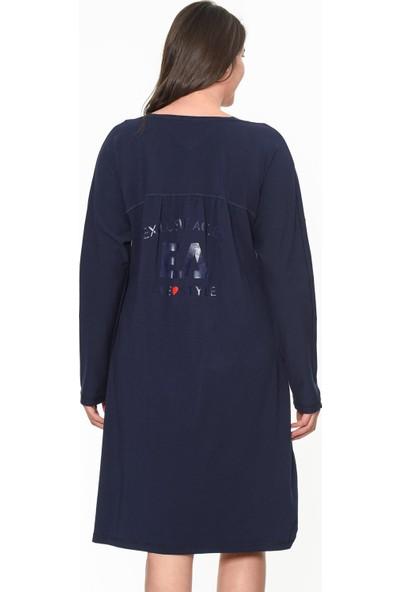 Lir Büyük Beden Ea Baskılı Elbise Lacivert 1313