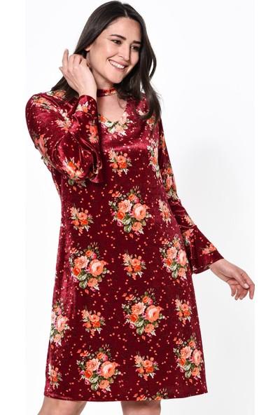 Lir Desenli Kadın Elbise 40 Bordo
