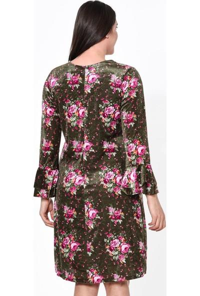 Lir Desenli Kadın Elbise 38 Haki