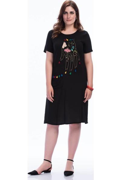 Lir Kadın Nakışlı Vison Elbise Siyah 48