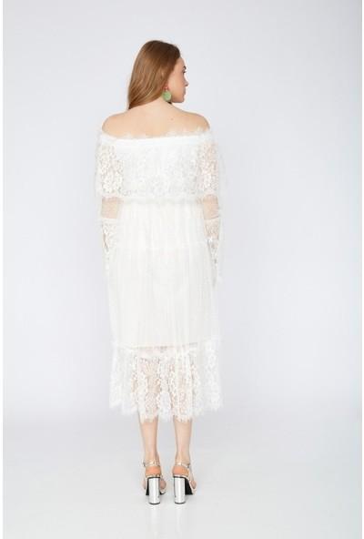 Freestar Degaje Dantel İşlemeli Tül Elbise