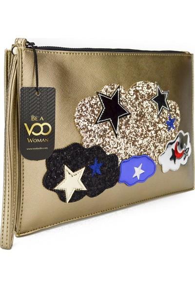Voo Platin Yıldız Ve Bulut Süslemeli Cloutch El Çantası