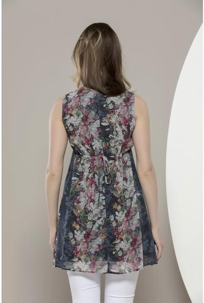 Gör&Sin Hamile Çiçekli Fiyonklu Kısa Şifon Elbise