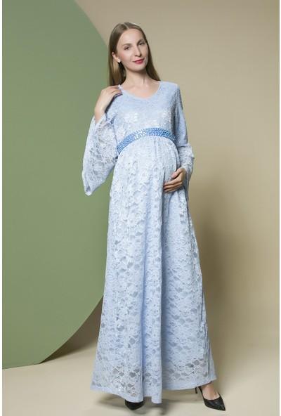 Gör&Sin Kol Ve Kemer Detaylı Dantel Elbise