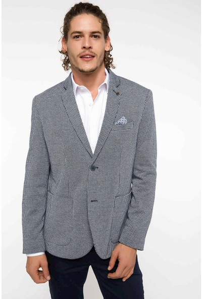 Defacto Slim Fit Dirsek Yamalı Blazer Ceket