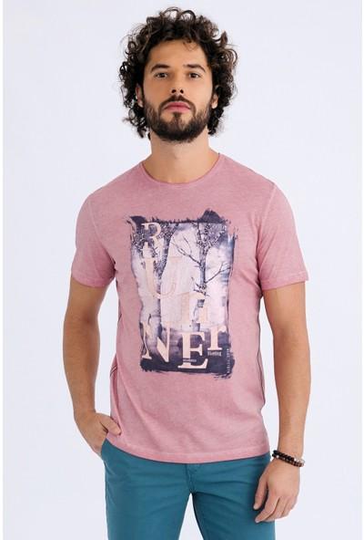 Kiğılı Bisiklet Yaka Baskılı Regular Fit T-Shirt