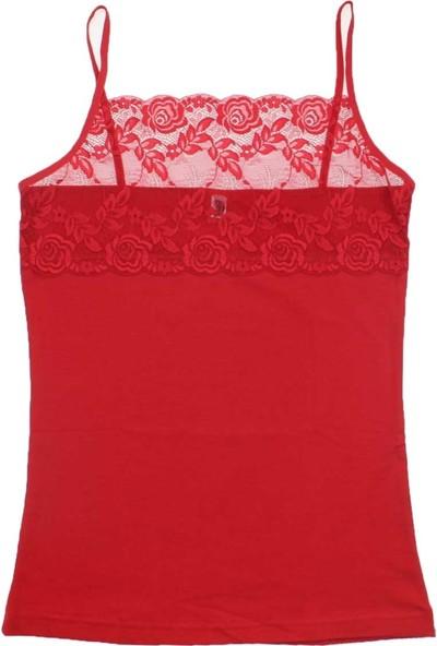 ModaKids Gümüş İç Giyim Kadın Dantelli Kırmızı İpAskı Atlet 040-4031-002