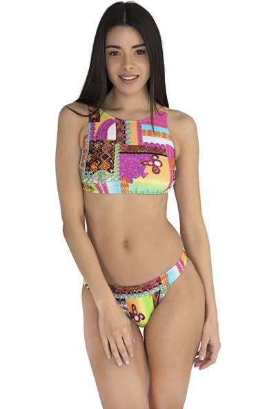 Sunset Boyundan Bağlamalı Kadın Bikini - Pembe-V11 SN1YM1862124V1136