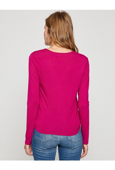 Koton Kadın V Yaka Sweatshirt