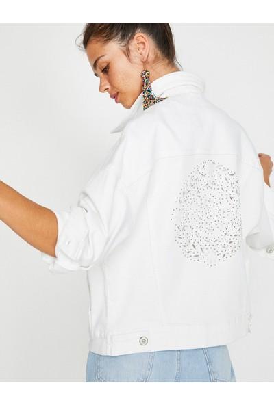Koton Kadın Taş Detaylı Jea Ceket