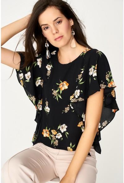 Lafaba Çiçek Desenli Siyah Bluz