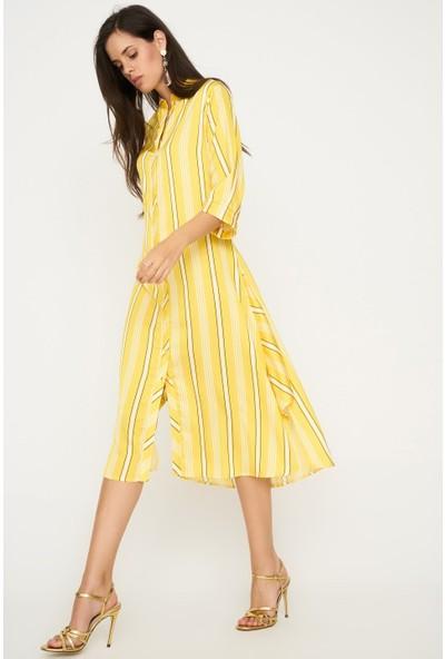 Lafaba Çizgili Sarı Elbise