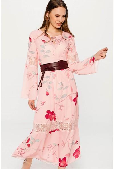 Lafaba Dantel Detaylı Desenli Pudra Elbise