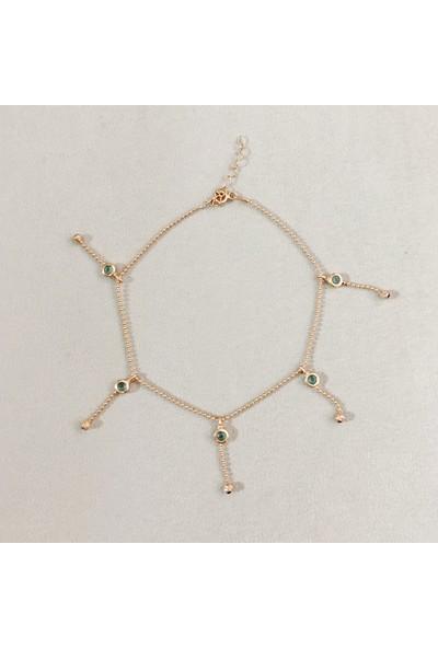Vella Jewels Gümüş Yeşil Taş Sallantılı Halhal