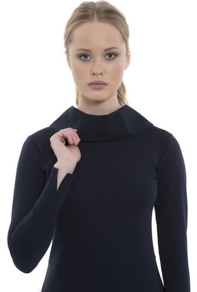 Mela D'oro Kadın Yüksek Yaka Uzun Kollu Elbise