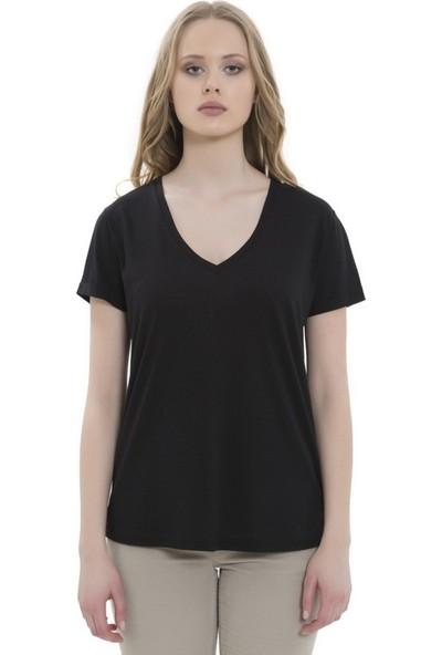 Mela D'oro Kadın Kısa Kol Bol Kesimli Tshirt