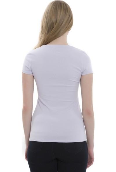 Mela D'oro Kadın Kısa Kol V Yaka Tshirt